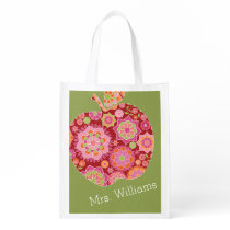 Custom Teacher Apple with Trendy Floral Pattern Reusable Grocery Bag