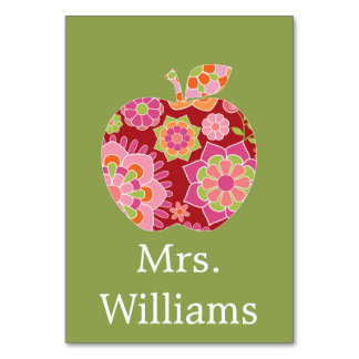 Custom Teacher Apple with Trendy Floral Pattern Table Cards