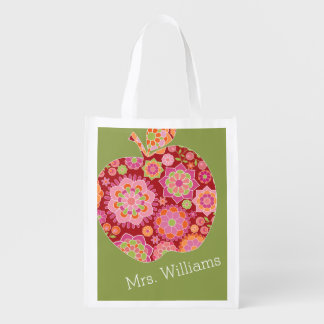 Custom Teacher Apple with Trendy Floral Pattern Reusable Grocery Bags