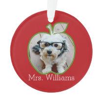 Custom Teacher Apple with Vertical Photo Ornament