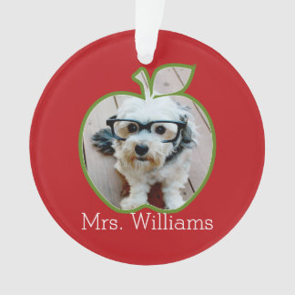 Custom Teacher Apple with Vertical Photo Ornament