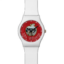 Custom Teacher Apple with Vertical Photo Wristwatch