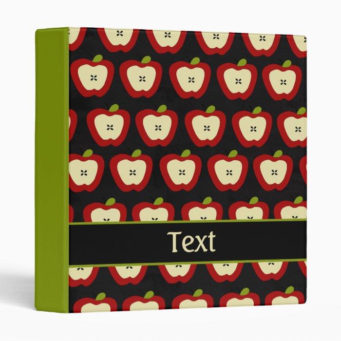 Custom Teacher Apples Pattern School Binder
