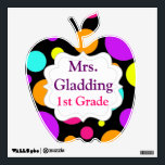 """Custom Teacher&#39;s Name Grade Polka Dots Wall Decal<br><div class=""""desc"""">Customize this teacher&#39;s classroom wall decal with your name and grade.  This is a removable wall decal that can be put on the wall then moved and rearranged up to 100 times without damage to the wall.  Great for putting on the outside of your classroom door!</div>"""