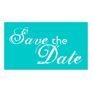 Custom teal back save the date wedding cards business card