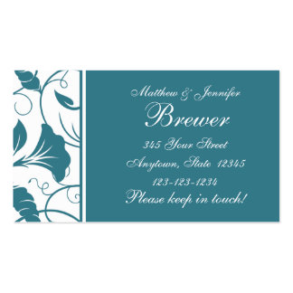 Custom Teal Blue Change of Address Cards Business Card