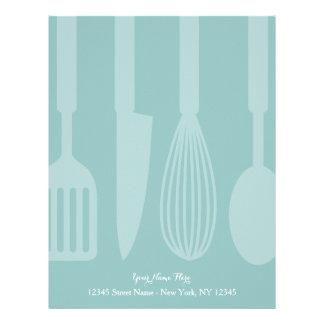 Custom teal kitchen utensils letterhead stationery