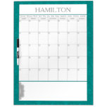 Custom Teal Large Calendar Dry Erase Board