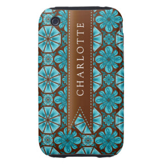Custom Teal Tile iPhone 3 Tough Cases