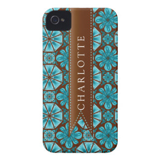 Custom Teal Tile iPhone 4 Case-Mate Case
