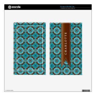 Custom Teal Tile Kindle Fire Decals