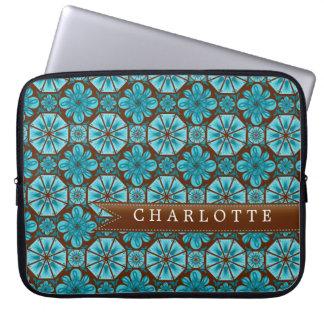 Custom Teal Tile Laptop Computer Sleeve