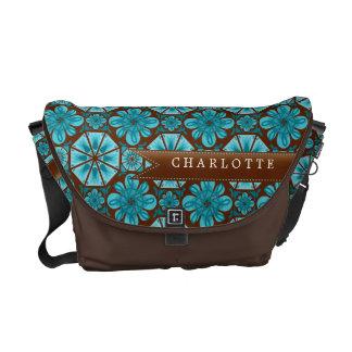 Custom Teal Tile Messenger Bag