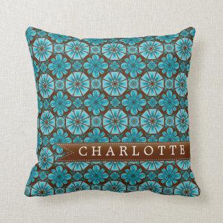 Custom Teal Tile Throw Pillows