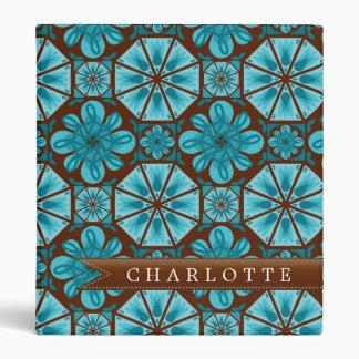Custom Teal Tile Vinyl Binders