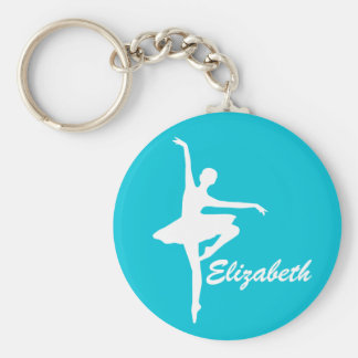 Custom Teal Turquoise Ballerina Basic Round Button Keychain