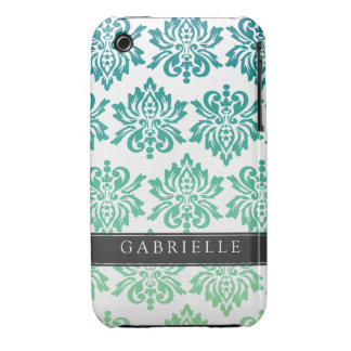 Custom Teal Turquoise Damask iPhone 3 Case-Mate Case