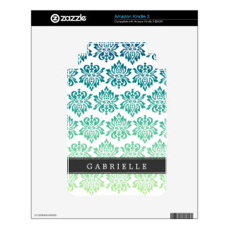 Custom Teal Turquoise Damask Decal For The Kindle