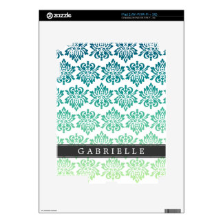 Custom Teal Turquoise Damask Decals For iPad 2