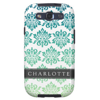 Custom Teal Turquoise Damask Galaxy S3 Cover