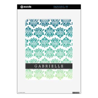 Custom Teal Turquoise Damask iPad Skins