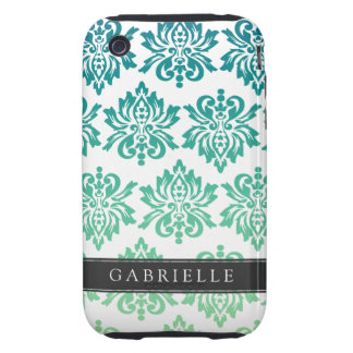 Custom Teal Turquoise Damask iPhone 3 Tough Cases