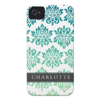 Custom Teal Turquoise Damask iPhone 4 Covers