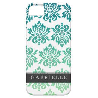 Custom Teal Turquoise Damask iPhone 5 Case