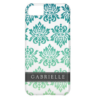 Custom Teal Turquoise Damask iPhone 5C Cases