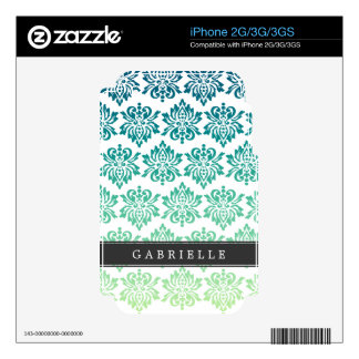 Custom Teal Turquoise Damask Skins For The iPhone 3GS