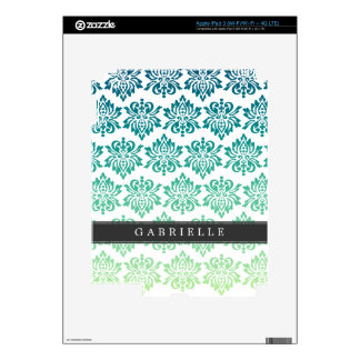 Custom Teal Turquoise Damask Skin For iPad 3