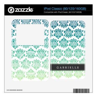 Custom Teal Turquoise Damask Skin For iPod