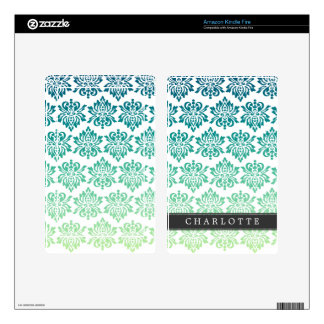 Custom Teal Turquoise Damask Skin For Kindle Fire