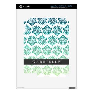Custom Teal Turquoise Damask Skins For iPad 3