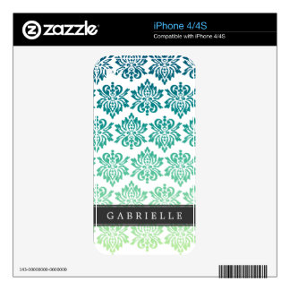 Custom Teal Turquoise Damask Skins For iPhone 4