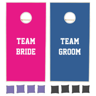 Custom team bride and groom cornhole set