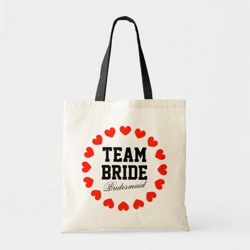 Custom Team Bride wedding tote bag with red hearts