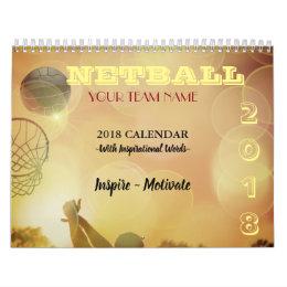 Custom Team Name Personalised 2018 Netball Calendar