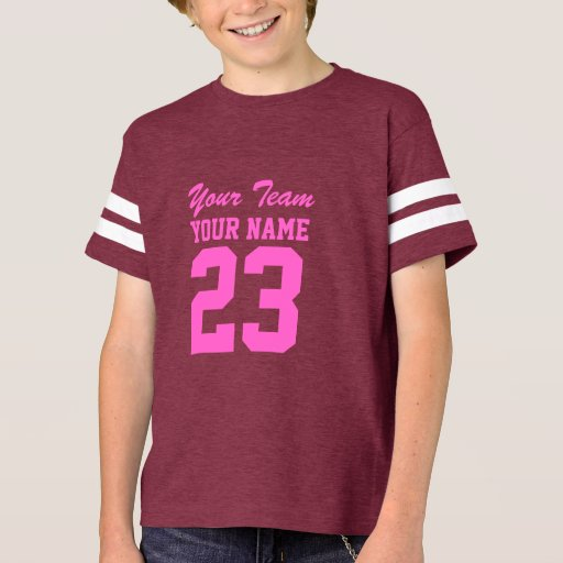 Custom Team Pink Girls Name Kids Sports Jersey T Shirt
