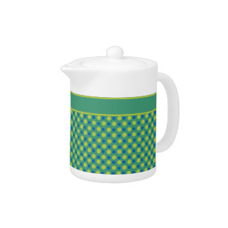 Custom Teapot with Blue and Green Polka Dots