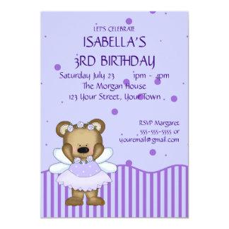"""Custom Teddy Bear Blue Fairy Princess 5"""" X 7"""" Invitation Card"""