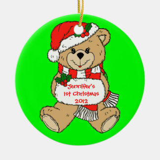 Custom Teddy Bear Santa First Christmas Ornament