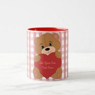 Custom teddy bear with heart Two-Tone coffee mug