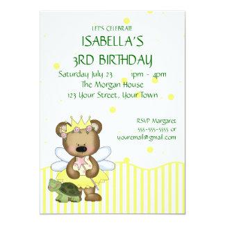 """Custom Teddy Bear Yellow Fairy Princess 5"""" X 7"""" Invitation Card"""