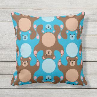 Custom Teddy Bears blue & brown pillow for kids