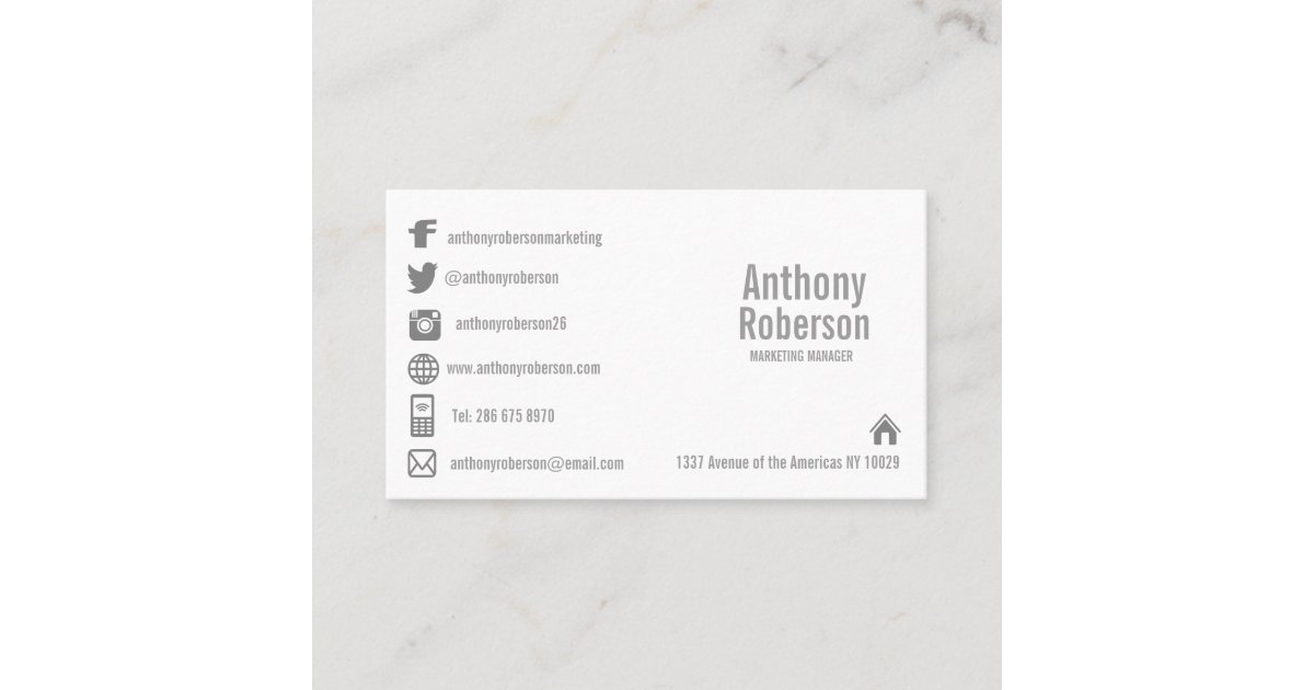 Custom template with social media symbols business card | Zazzle.com