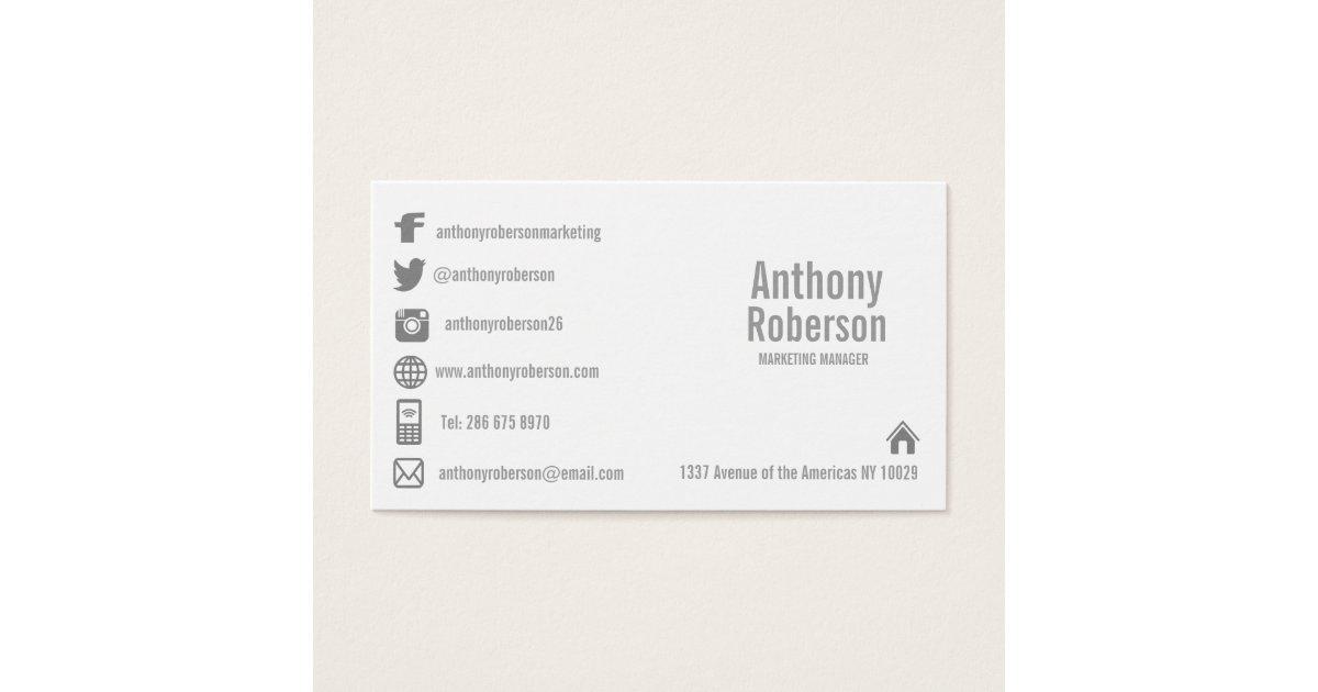 Custom template with social media symbols business card   Zazzle.com