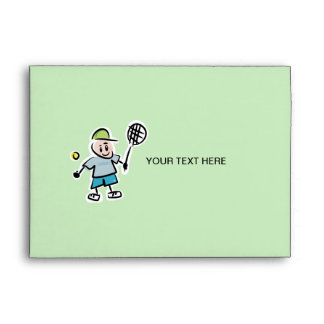 Custom Tennis Envelopes -  cartoon tennis player