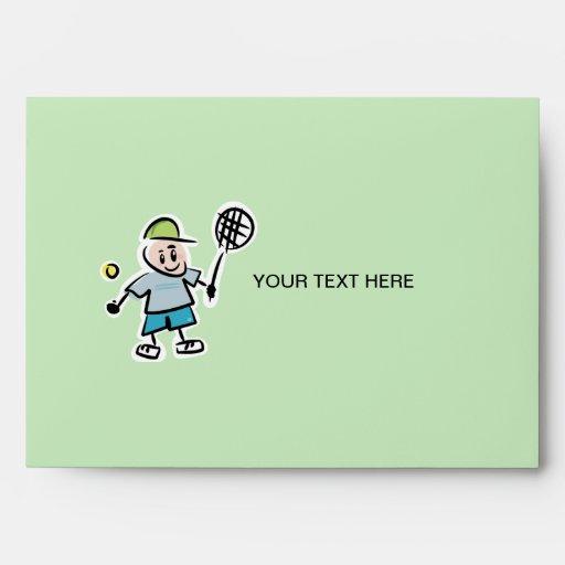 Custom Tennis Envelopes -  cartoon tennis player