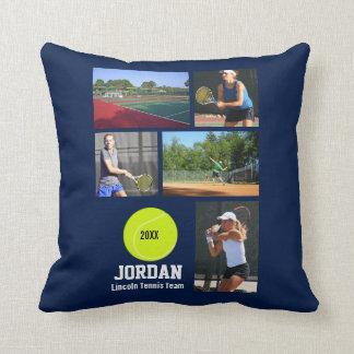 Custom Tennis Photo Collage Name Team Year Throw Pillow